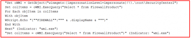 Fig 4. VBS file to identify installed firewall products.